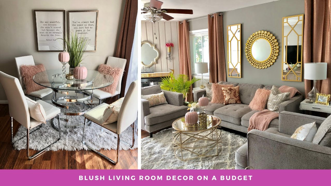 How To Beautifully Affordably Decorate Open Concept Living Room Pink Grey Decor Youtube
