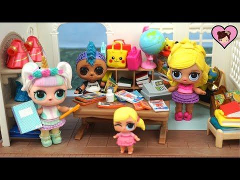 LOL Unicorn Goes School  Supply Shoppping with Custom Barbie LOL Family