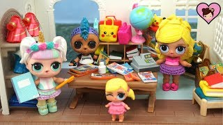 LOL Unicorn Goes School  Supply Shoppping with Custom Barbie LOL Family