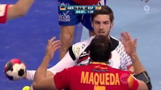 Handball EM 2016: Finale Deutschland vs. Spanien - 1. Halbzeit ohne Hymnen (ARD 31.01.2016) 360p