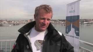 British sailor Neil Mcdonald onboard Oman air Musandam just after the finish in Plymouth