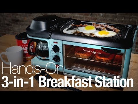This retro appliance is a griddle, coffee maker, and toaster oven in one