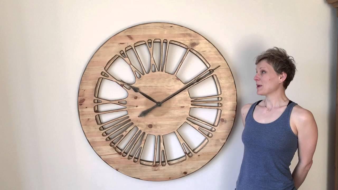 Large Wooden Clock Part - 22: Peak Art - Extra Large Wooden Skeleton Clock