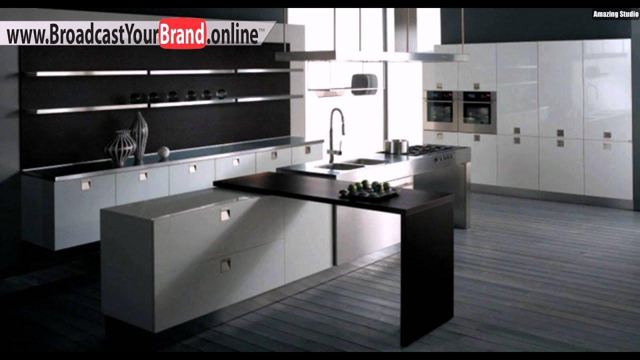 schwarz weiße minimalistische küche hochglanz - youtube - Kche Weiss Hochglanz Mit Braun Fliesen