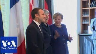 Macron, May and Merkel hold trilateral meeting thumbnail