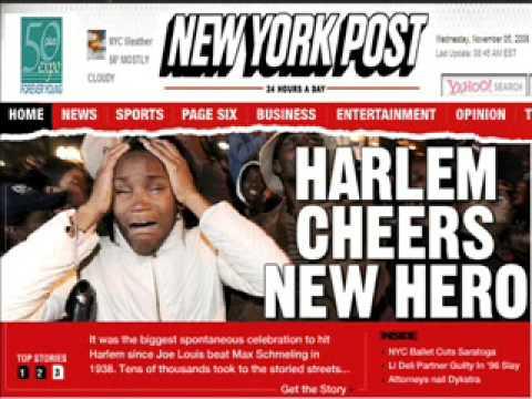 NEW YORK POST. BREAKING NEWS / HEADLINE NEW. TRIBUTO USA PEOPLE AND MR. PRESIDENTE BARACK OBAMA.