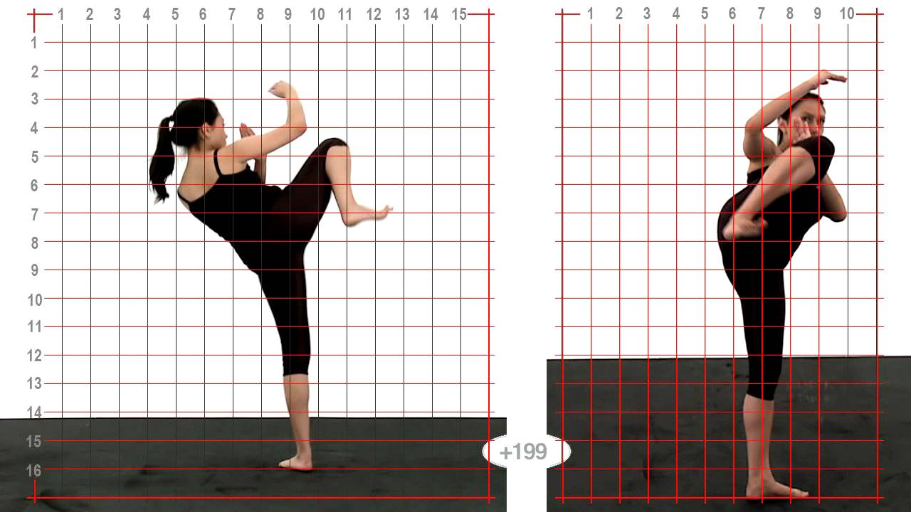 Young Adult Female Side Kick High - Grid Overlay  Animation Reference Body  Mechanics