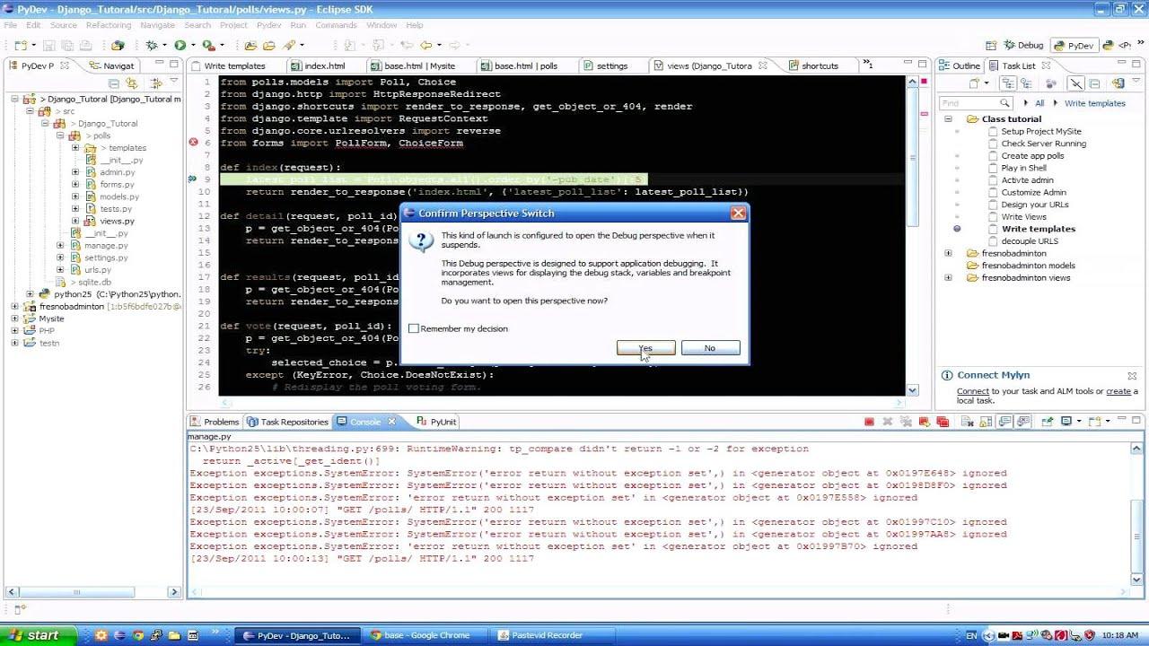 Yawd programming blog using aptana studio 3 ide for django.