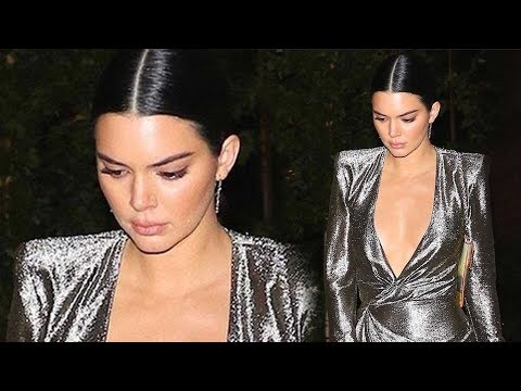 Kendall Jenner Flashes Major Cleavage in Sexy Silver Dress With Thigh-High Slit thumbnail