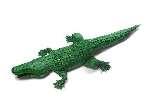 Origami American Alligator (256ths version) process (Michael Lafosse) 折り紙  Amerikanisches  Crocodile