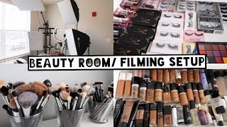 My Makeup Collection + Beauty Room Tour + Filming Setup   What Camera and Lens I Use