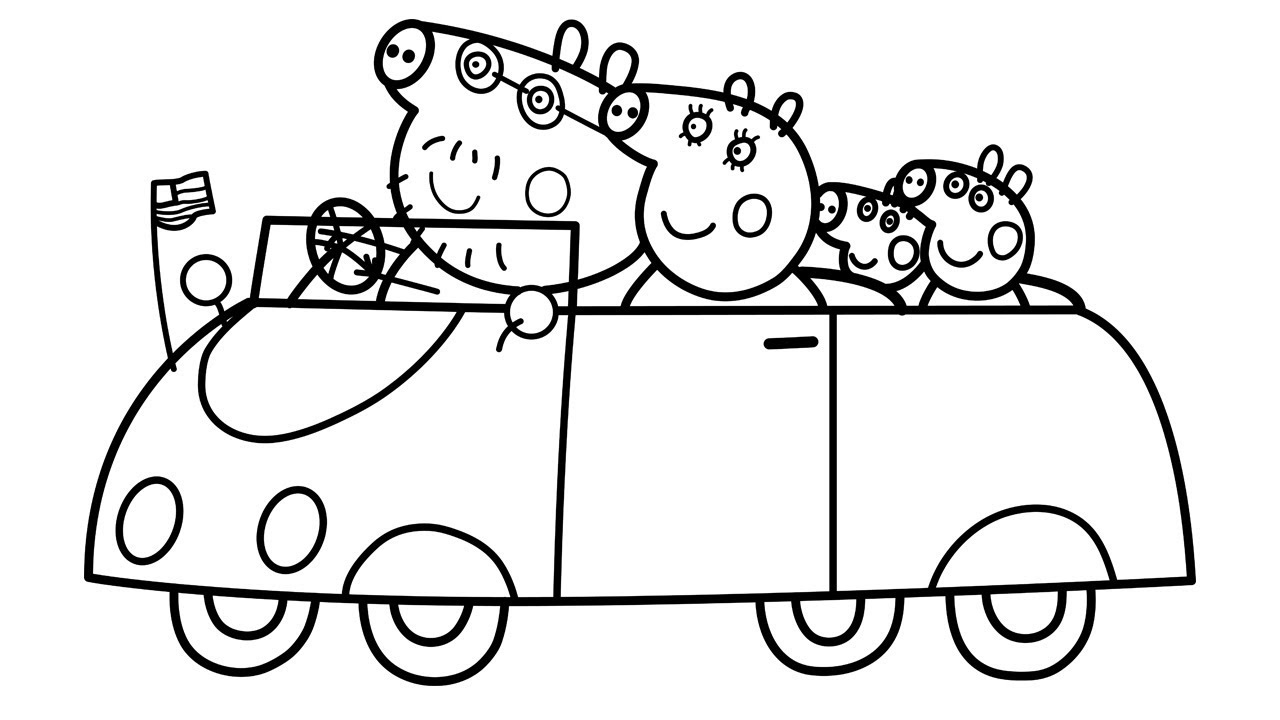 Peppa Pig Family in Car Coloring Pages Learn Colors with Peppa Pig YouTube