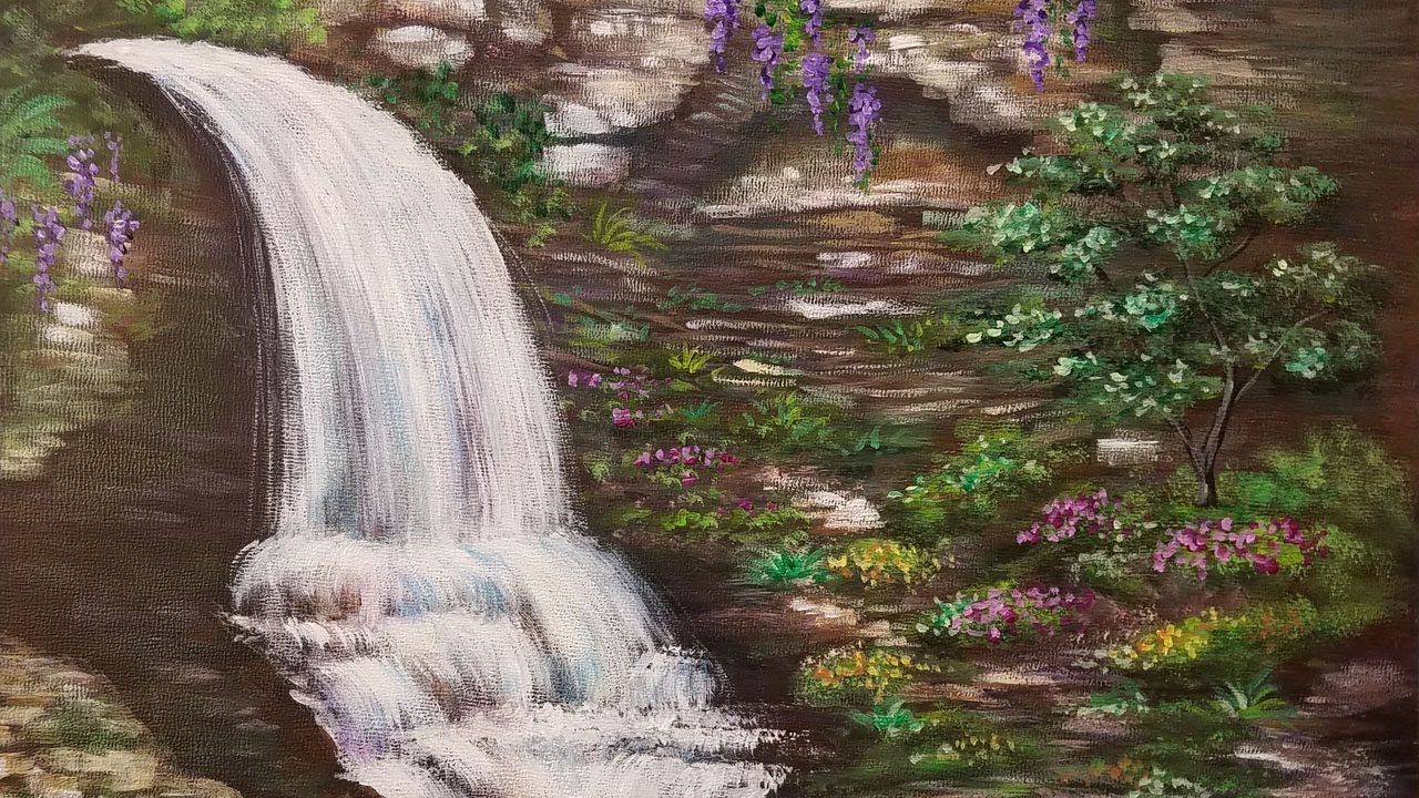 Waterfall Acrylic Painting Tutorial  How to Paint Water