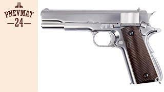 страйкбольный пистолет WE Colt M1911A1, хромированный, коричн. накладки (WE-E006A)