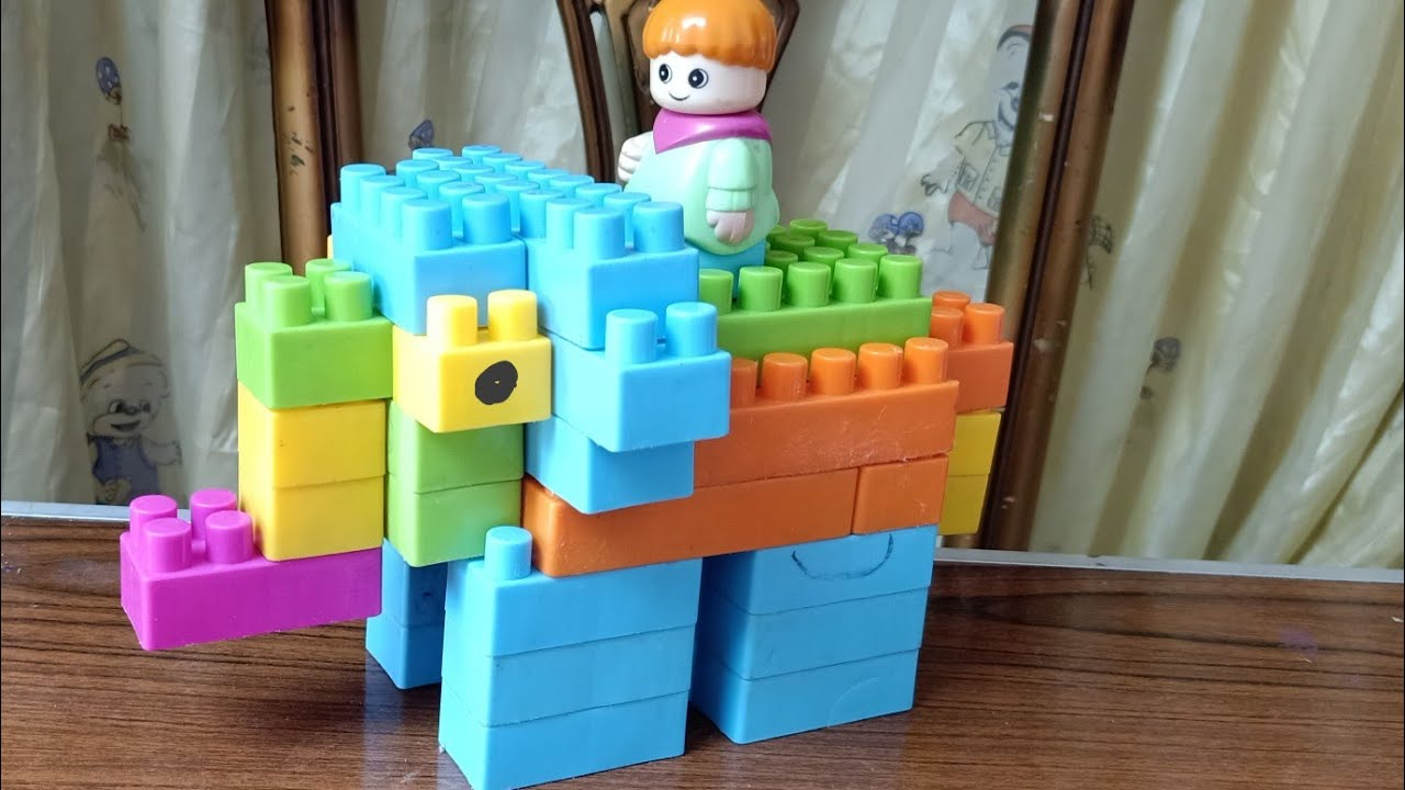 بناء فيل صغير بالمكعبات ،العاب اطفال ،play with blocks