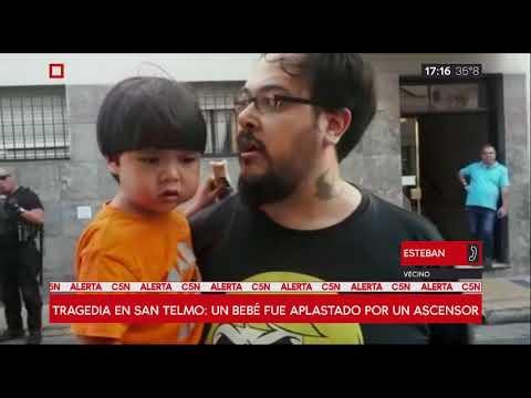 Un bebé de ocho meses murió aplastado por un ascensor en San Telmo