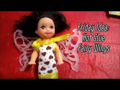 Hot glue Fairy wings for dolls Quick Friday Craft Idea, how to creative hot glue gun