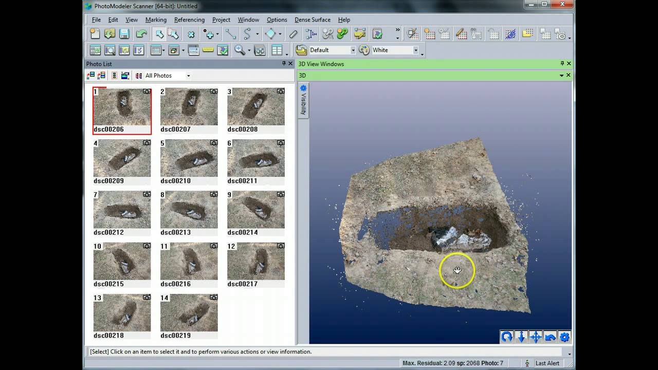 Creating a dense point cloud of a grave with photomodeler for Photo modele