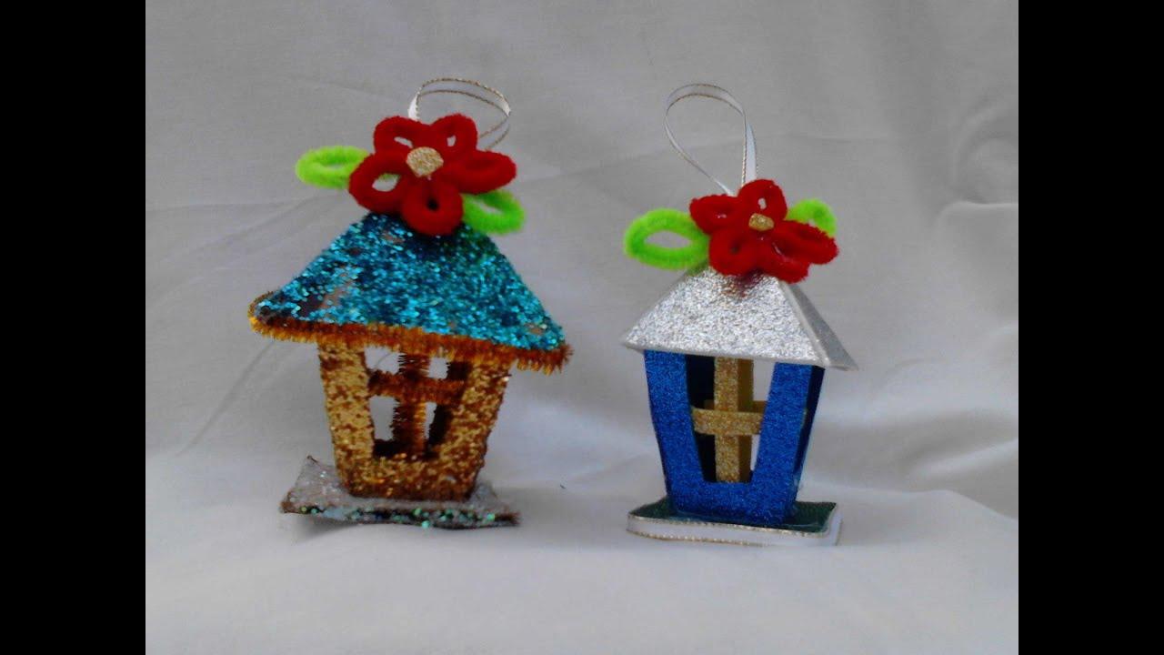 Farolitos adorno para el arbol hechos de carton o fomy - Manualidades en carton ...