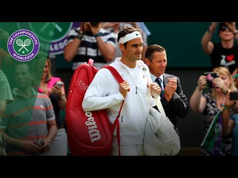 Roger Federer walks onto Centre Court for first time at Wimbledon 2017