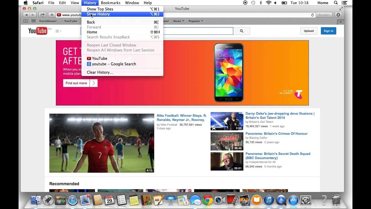 How To View History On A Mac Youtube