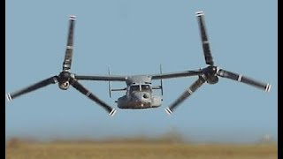 ONE OF A KIND US Military V-22 Military Helicopter Aircraft flying in Military Exercise