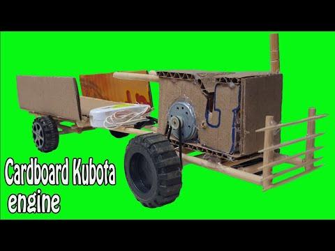 How To Make Electrical Cardboard KUBOTA Engine,DIY Paper