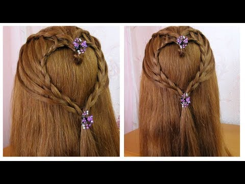 Tresse cascade et coeur tressé 💗 Tuto coiffure simple 💗 Waterfall braid and braided heart hairstyle