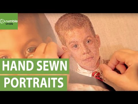 Artist creates breathtaking portraits using hand sewn silk thread