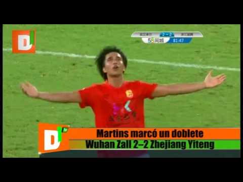 Martins marcó un doblete con el Wuhan Zall
