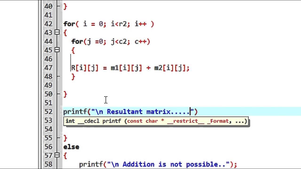 C Program to Add Two Matrix Using Multi-dimensional Arrays