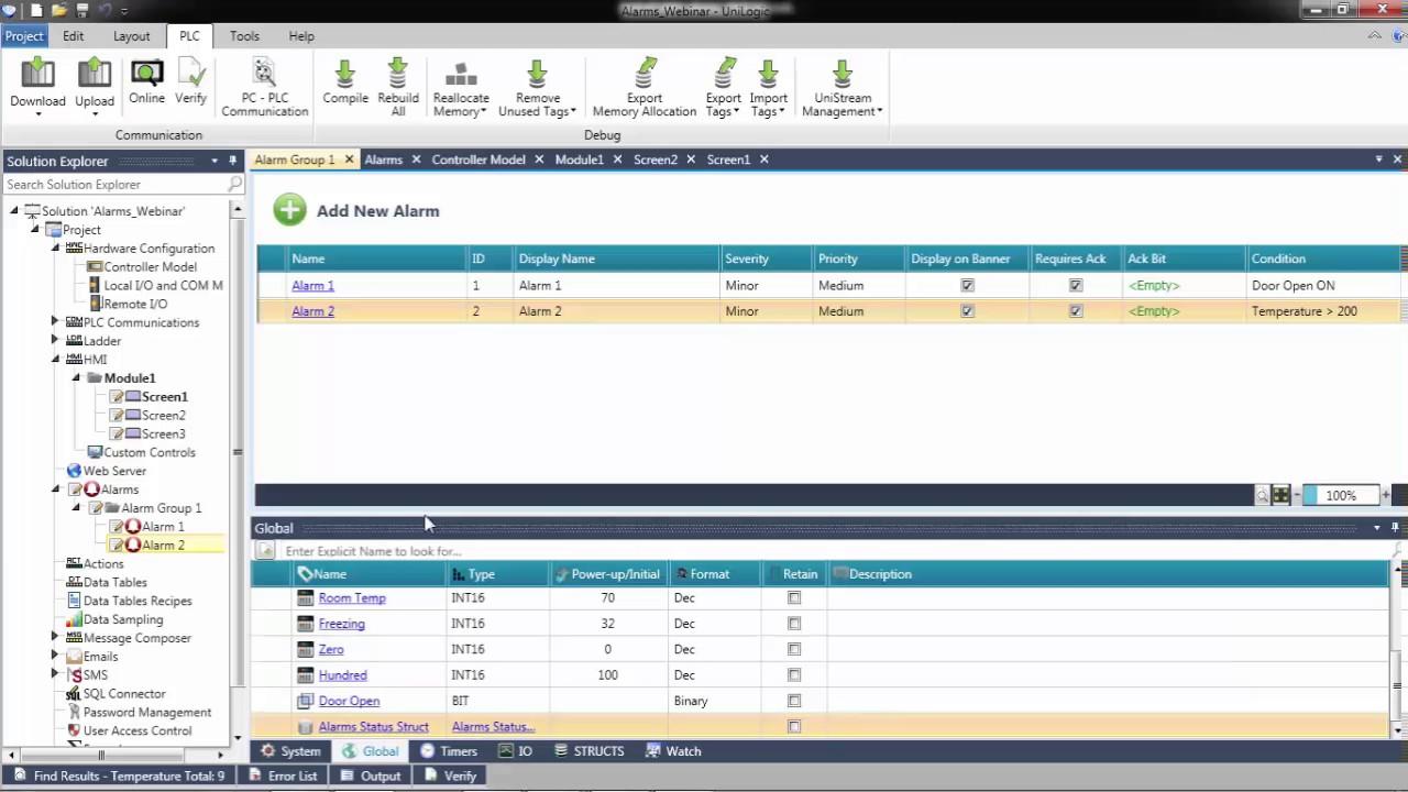 PLC Training: Alarm   UniLogic for UniStream by Unitronics