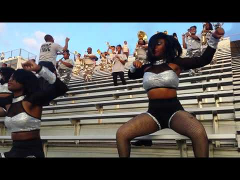 """Riverdale High School marching band playing """"fight song and Never Scared"""""""