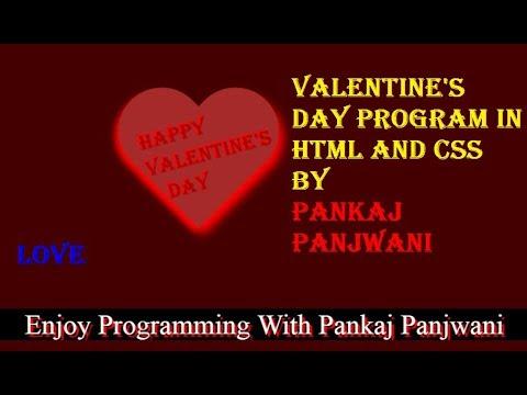 Happy Valentine's Day Program Using HTML And CSS By Pankaj Panjwani