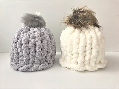 HOW TO HAND KNIT A CHUNKY CHENILLE HAT IN 30 MINUTES