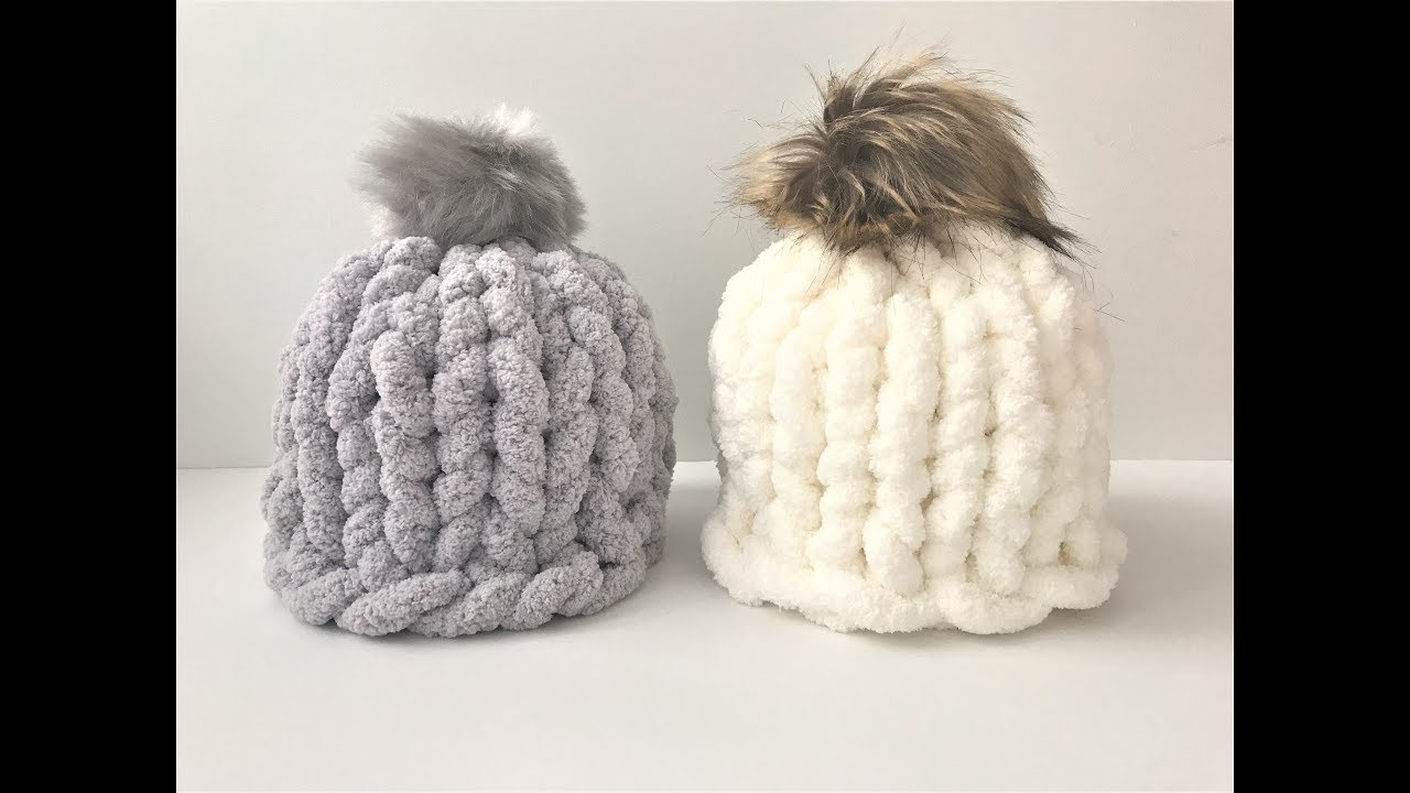 2c83e98ce HOW TO HAND KNIT A CHUNKY CHENILLE HAT IN 30 MINUTES