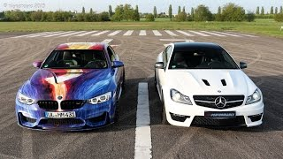 hamann m4 art car pp performance c63 amg edition 507 start up revs and acceleration