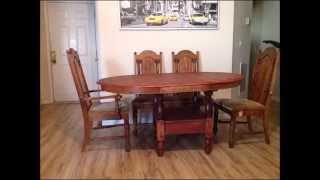 5pc Farmhouse Oval Trestle Dining Room Table Set