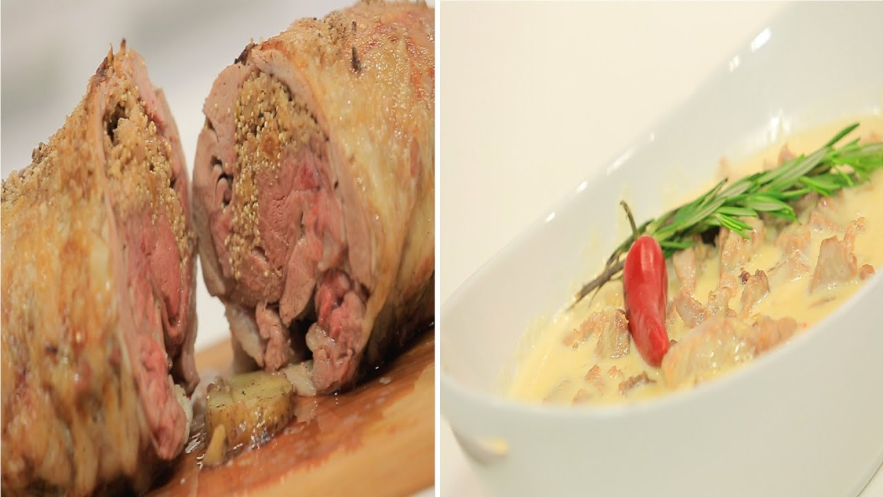 فخذة بتلو روستو محشية كينوا - بواقي اللحم الروستو بصوص الكريمة الحلو الحار : طبخة ونص الحلقة كاملة