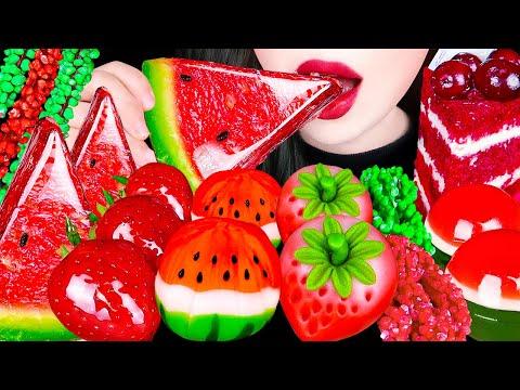 ASMR WATERMELON TANGHULU, FRUITS RICE CAKE, ROPE JELLY 수박 탕후루, 딸기 화과자, 수박젤리 먹방 EATING SOUNDS MUKBANG