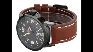NAVIFORCE Japan Movement Men's Army Leather Casual Sports Date Quartz Wristwatch