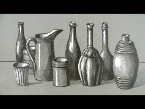 How To Draw A Still Life Bottles And Jugs Youtube