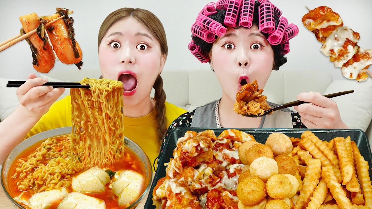Download Mukbang Spicy Fried Chicken and Ramyun 하이유의 양념치킨 순두부 열라면 총각김치 먹방 Radish Kimchi REAL SOUND | HIU 하이유
