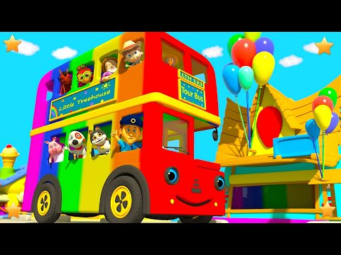 Rainbow Wheels on the Bus | Kindergarten Nursery Rhymes & Songs for Kids | Little Treehouse S03E118