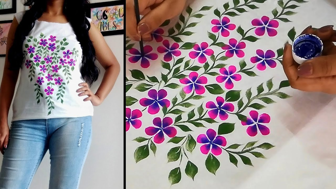 Fabric Painting Design on Top / Kurti | Flower print Hand Painted Designer  Top