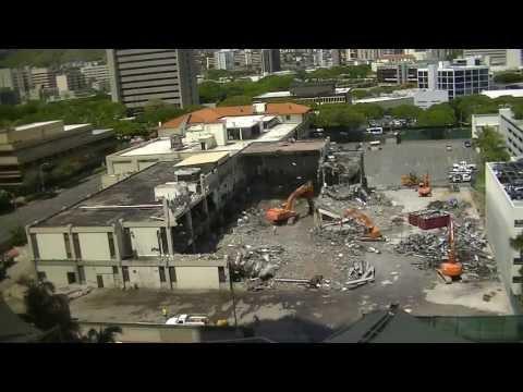June 26, 2013 Time Lapse - Honolulu Advertiser building demolition. Honolulu, Hawaii