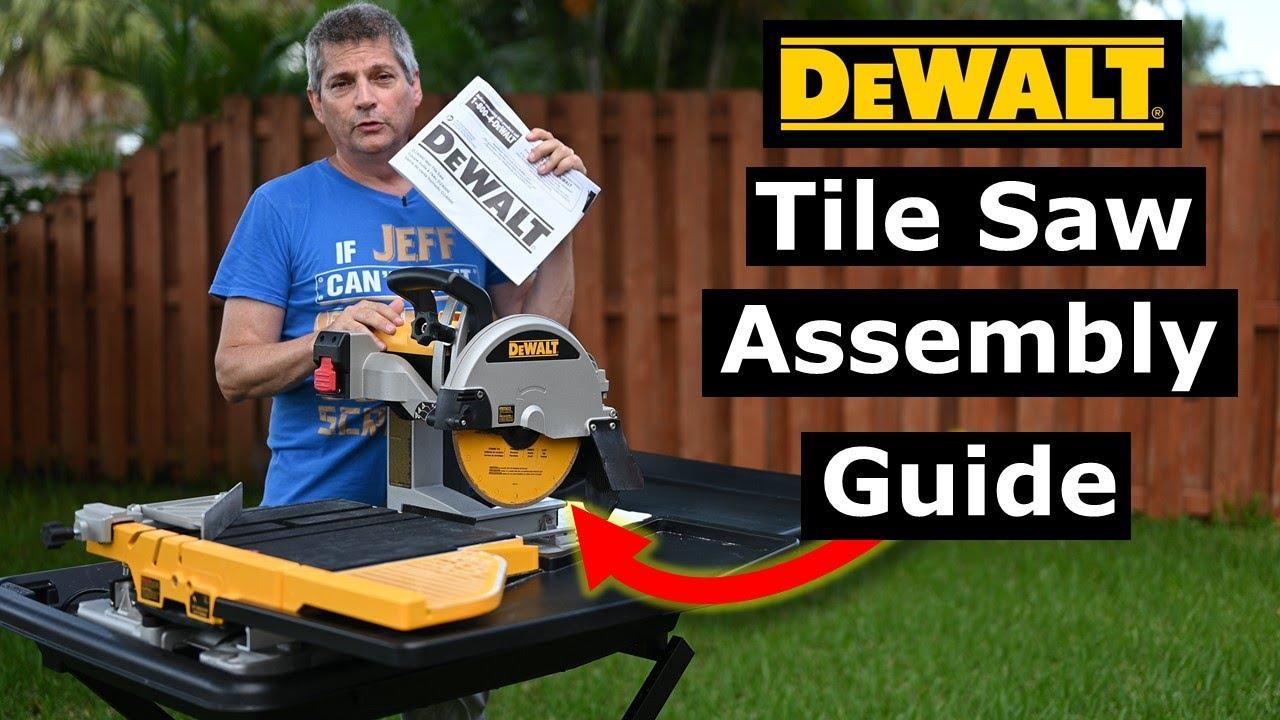 dewalt d24000 wet tile saw setup assembly instructions user guide