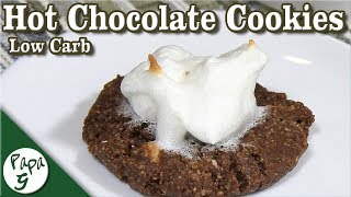 Hot Chocolate Cookies with Toasted Marshmallow Topping – Hot Cocoa Cookies – Keto Cookie Recipe