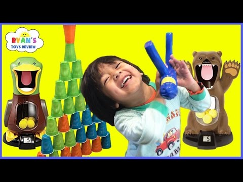 Thumbnail: Hungry Bear Target Shooting Game for Kids Toys Unboxing Cup Stacks with Family Fun Playtime