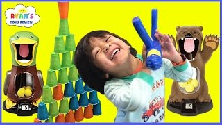 Hungry Bear Target Shooting Game for Kids Toys Unboxing Cup Stacks with Family Fun Playtime